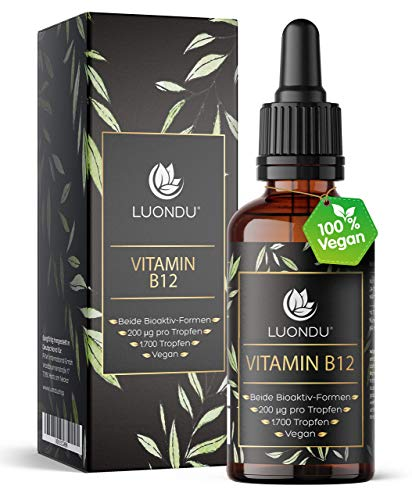 Vitamin B12 Tropfen hochdosiert Vegan 200 µg - 50ml (1700 Tropfen) B12 Vitamin beiden Aktivformen Adenosyl- & Methylcobalamin