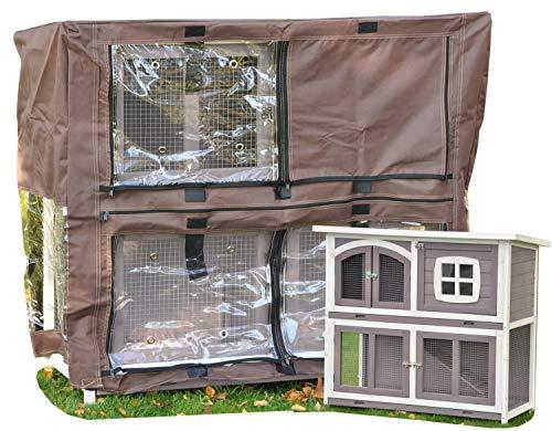 nanook Schutzhülle Wetterschutz Cover für Kaninchenstall Hasenstall Murmel, 115 x 52 x 104 cm - Farbe: braun, schwarz