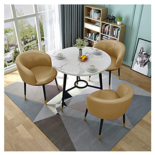 SFSGH Classic Dining Table and Chairs Set of 4, Wooden Dining Table and 3 Faux Leather Padded Chairs Kitchen Dining Table Set
