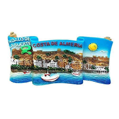 Imán para nevera de resina 3D con diseño de Time Traveler Go Almería, Costa de España, regalo de colección, decoración del hogar y la cocina, imán magnético para nevera