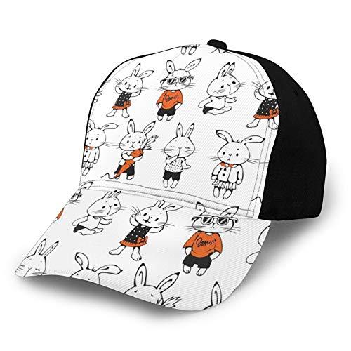 Casquette de baseball structurée, mignonne rétro lapin avec costumes Jack Lièvre Funky Bunnies Carotte Croquis Chapeau de père pour homme et femme Réglable Profil bas