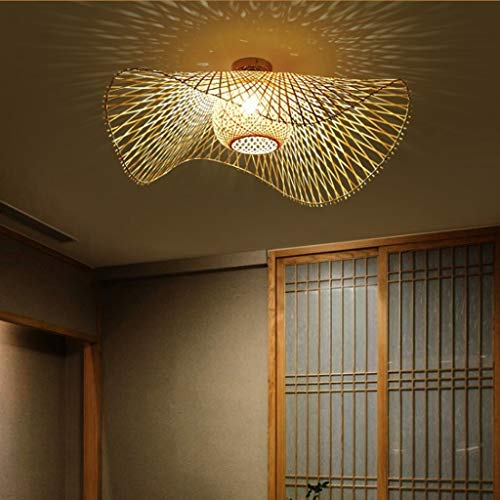 Retro natürliche Bambuslicht Kronleuchter und Vintage Rattan Deckenleuchte E27 handgewebte Deckenleuchten zum Essen Schlafzimmer Wohnzimmer Bar Cafe Küche Pendelleuchte Flur Hängelampe, 100cm