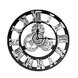 XYQY Vintage Reloj de Pared Retro Europeo Gear Reloj de Pared de Madera Reloj de Pared diseño de números Romanos para la decoración de la Sala de Estar en el hogar 32 cm 6