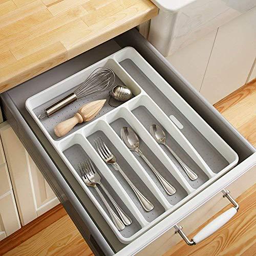 Weehey Organizador de cajones Cubiertos Cubiertos Cubiertos Almacenaje de Utensilios 6 Secciones para la Cocina Comedor de la Oficina
