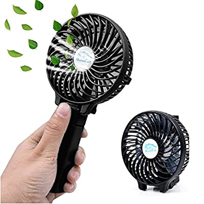EssVita Handheld Portable Mini Travel Hand Fan USB Foldable Multipurpose Desktop Table Fans with Clip, 2000mAh Rechargeable Battery, 3 Speeds, for Home, Office and Travel (Black)