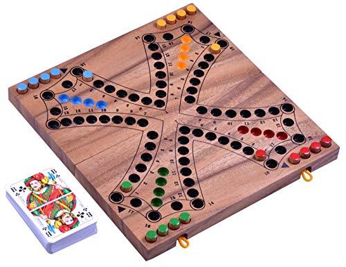 LOGOPLAY Tock für 4 Spieler - Gesellschaftsspiel mit Spielkarten - Brettspiel aus Holz mit zusammenklappbarem Spielbrett