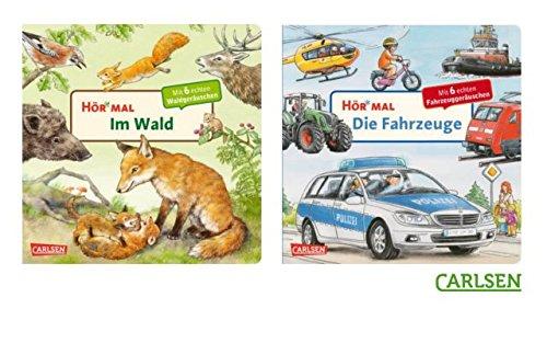 Carlsen Kinderbücher Set - Hör mal (Pappbuch): Die Fahrzeuge + Im Wald - Kinderbücher mit Geräuschen