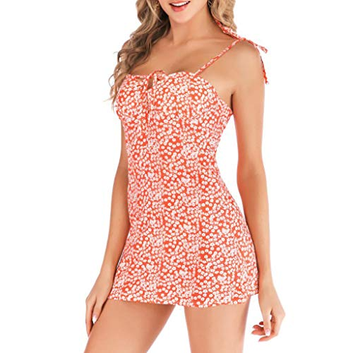 MERICAL Vestido Largo sin Mangas con Estampado Floral de Playa con Estampado Floral de Mujer(Rosado,X-Large)