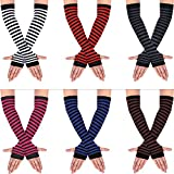 6 Pairs Women Long Fingerless Gloves Knit Arm Warmer Thumb Hole Stretchy Gloves (Diversified Color)