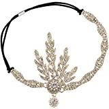 BABEYOND 1920s Stil Blatt-Medaillon Rundes Stirnband mit Perlen Inspiriert von Der Große Gatsby...
