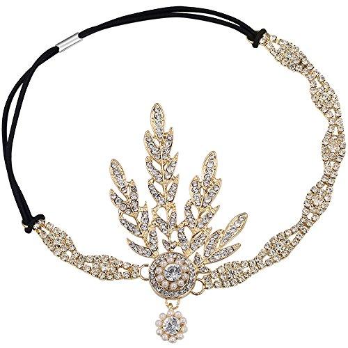 BABEYOND 1920s Stil Blatt-Medaillon Rundes Stirnband mit Perlen Inspiriert von Der Große Gatsby Accessoires für Damen (Gold)