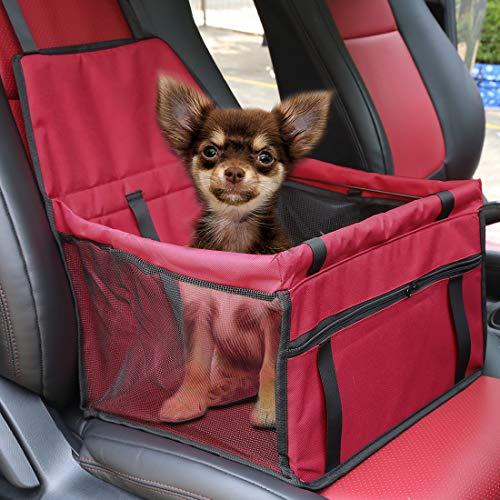 X AUTOHAUX Hunde Autositz für Kleine Mittlere Hunde, Rückbank & Vordersitz Hundesitz, Wasserdicht Autositzbezug Hundedecke Haustierdecke Einzelsitz für Haustier Hund Katzen Reise rot