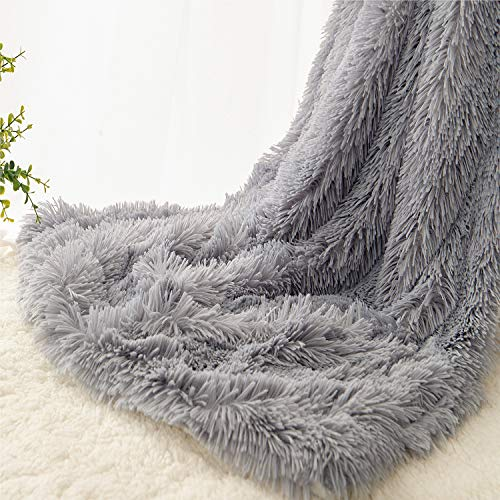 """EMME Faux Fur Blanket Fuzzy Soft and Plush Shaggy Fall Throw Blankets for Bed Long Fur Solid Reversible Warm Cozy Luxurious Fluffy Blanket for Sofa, Couch as Gift Home Decor (Grey, 50""""x60"""")"""