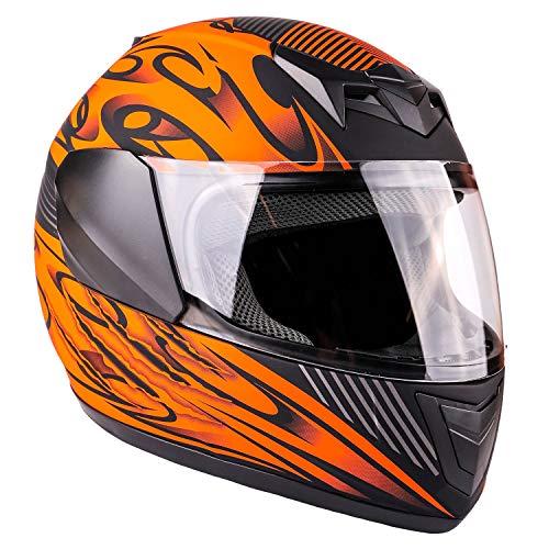 Typhoon Youth Full Face Motorcycle Helmet Kids DOT Street - Ships Same Day - Matte Orange (Large)