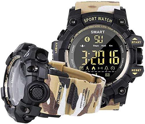 Hombres s reloj inteligente al aire libre impermeable reloj inteligente 5ATM profundidad impermeable dial luminoso calorías podómetro recordatorio de llamada negro-amarilla-AYellow