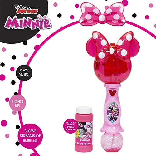 Little Kids Disney Minnie Mouse Light and Sound Musical Bubble Wand, Includes Bubble Solution, Multi (20512)