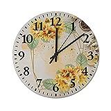 Pealrich Reloj de pared de oro con girasol y manzanilla, silencioso y sin garrapatas, moderno, funciona con pilas, silencioso, digital, silencioso, para oficina, hogar, escuela, cocina, 25 cm