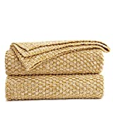 Longhui Bedding Gold Knitted Throw Blanket for Couch, Soft, Cozy Machine Washable 100% Cotton Sofa Blanket, Heavy 2.5lb Weight, Laundry Bag Included, Mustard Yellow and White