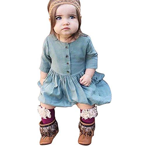 chendongdong Enfants Bébés Filles Jeans 7 Points Princesse Sleeve Denim Robe Tenues Chiffons