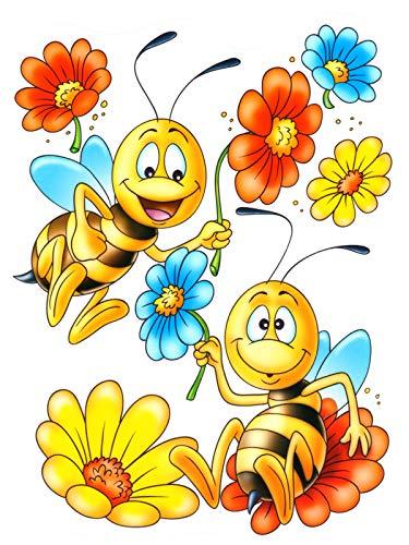 dpr. Fensterbild Blumen Bienen Fenstersticker Fensterdeko Aufkleber Fenster Deko
