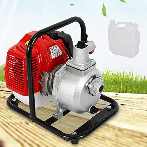 Berkalash 43CC 2 Takt Benzin Gartenpumpe, 1250W 1500L/H Wasserpumpe Teichpumpe Wassertransferpumpe, 1,7PS Motorpumpe für Bewässerung Teichpumpe Brunnenpump