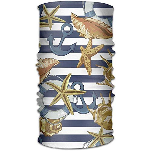 jingqi Paño De Manguera,Pasamontañas,Magic Diadema,Pañuelo para La Cabeza,Summer Sea Shells Anchor Lifeline Elastic Sweatband,Hombres/Mujeres Head Wrap,Al Aire Libre Magic Scarf 50X25Cm