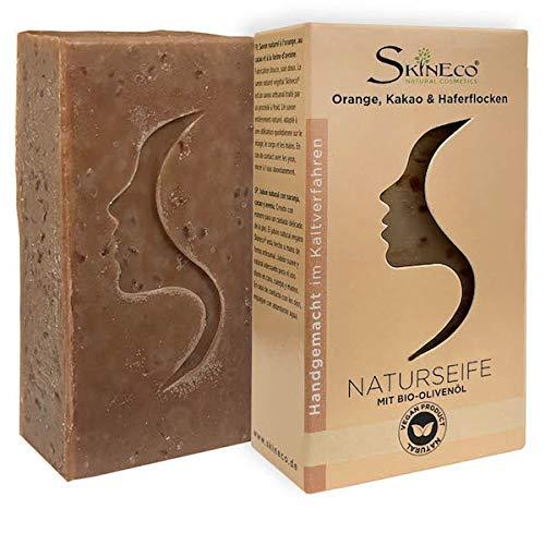 Skineco Naturseife   nachhaltige Duschseife mit Orange, Kakao, Haferflocken, Bio Olivenöl   Körperseife   handgemachte Naturkosmetik   Stück Seife für Gesicht & Haut   festes mildes Duschgel   vegan