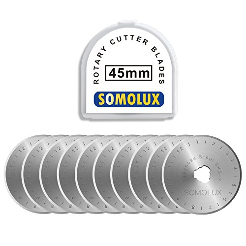 Rotary Cutter Blades 45mm 10 Pack by SOMOLUX,Fits OLFA,Fiskars,DAFA,Truecut Replacement, Quilting Scrapbooking Sewing Arts Crafts,Sharp and Durable