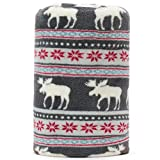 Baby Blanket Throw with Xmas Moose Poinsettias Pattern Grey Background Soft Light Weight Coral Fleece 250GSM 50 x 60