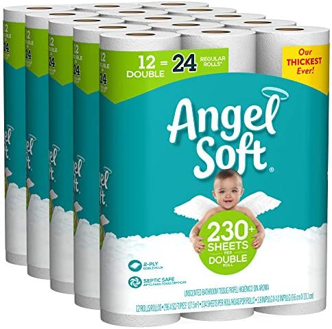 Angel Soft Toilet Paper 60 Double Rolls 60 120 Regular Rolls Bath Tissue 12 Rolls Pack of 5 product image