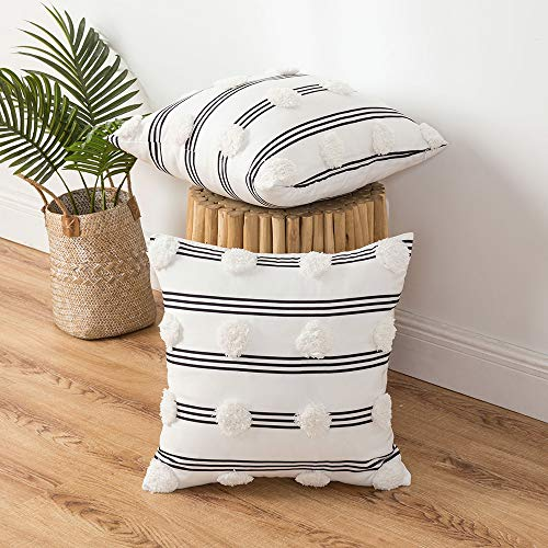 MIULEE Pack of 2 Boho Decorative Throw Pillow Cover Striped Tufted Cushion Cases Pillowcase for Couch Sofa Bedroom 18x18 Inch Black White