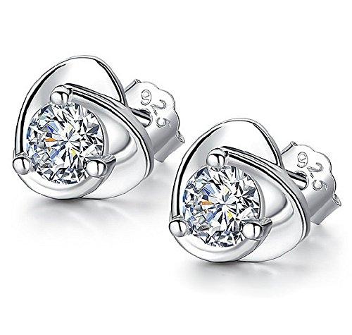 CAOLATOR Pendientes Plata Color en Forma de Corazón Pendientes Mujer de Diamante Cristal Decoración del Partido Aretes para el Accesorios de Joyería (Blanco)