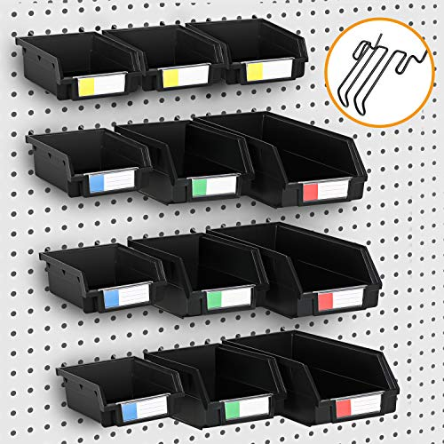 Mang fly 12 pack pegboard箱,3尺寸Peg板存储挂钩适合任何工具额外的6钩,PEG板配件组织者存储附件,硬件,工艺和零件,黑色