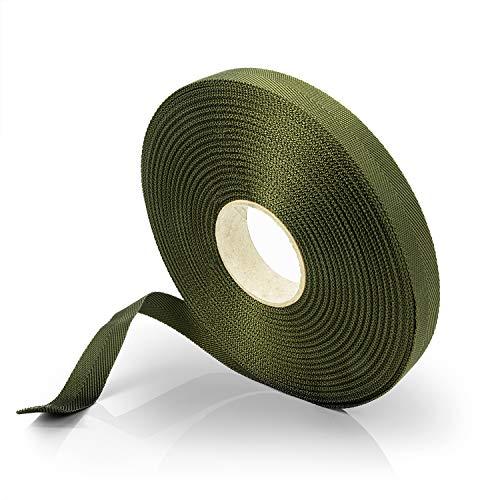 Effaband Baumanbinder - 25m Pflanzenbinder aus witterungsbeständigem & verrottungsfestem Polyester in olivegrün/Breite: 10 mm