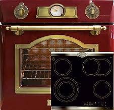 Juego de cocina de inducción retro Autark Kaiser Empire, horno empotrable de 67 litros en rojo + placa de inducción de 60 cm en negro, autolimpieza, pincho giratorio, horno empotrable, cocina y horno
