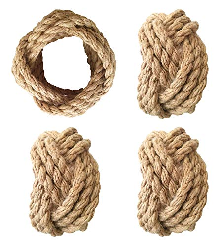 YourKart Handmade Round Mesh Classic Braided Jute Napkin Rings for Dinning Table Parties for Everyday - Set of 4 (Natural)