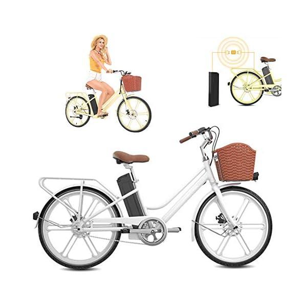 51G+AUYLlWL. SS600  - WSCQ Damen City-E-Bike, Pedelec Citybike leicht 24 Zoll Vollreifen 250W und 16Ah, 36V Lithium-Ionen-Akku mit Fahrradkorb