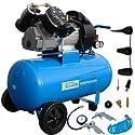 2-Zylinder-V-Aggregat mit Ölschmierung Niedriger Schwerpunkt für sicheren Transport Druckminderer, 2 Manometer, 2 DL-Anschlüsse Optimale Zuführung der Kühlluft Motorthermoschutz