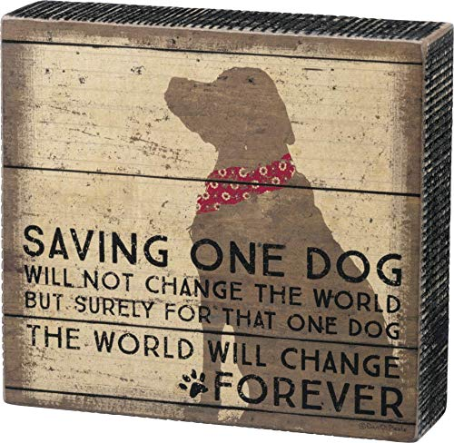 Primitives by Kathy 33718 Distressed Box Sign, One Dog