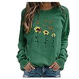 BOIYI Women's Crewneck Long Sleeve Top T-Shirt Sunflowers Printed Casual Loose Pullover Blouse Solid Colour Jumper Sweatshirt(Green,XXXL)