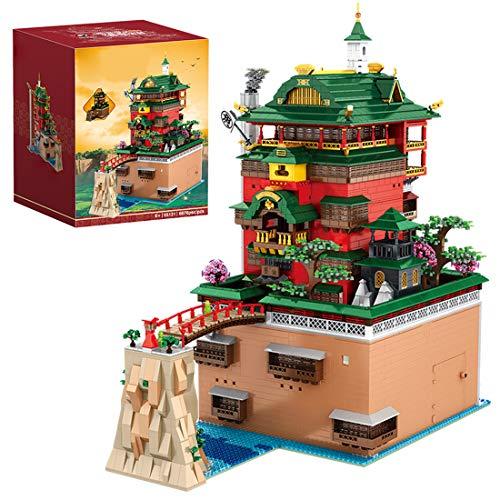 Mocdiy Pavillon der heißen Quellen Bausteine mit LED Beleuchtung, Haus Modular Building, Anime Architektur Modell Bauset, 6786 Teile Klemmbausteine Kompatibel mit Lego Haus