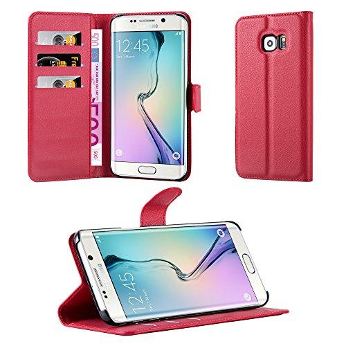 Cadorabo Hülle für Samsung Galaxy S6 Edge Plus - Hülle in Karmin ROT – Handyhülle mit Kartenfach und Standfunktion - Case Cover Schutzhülle Etui Tasche Book Klapp Style