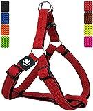DDOXX Arnés Perro Step-In Air Mesh, Ajustable, Acolchado   Diferentes Colores & Tamaños   para Perros Pequeño, Mediano y Grande   Accesorios Gato Cachorro   Rojo, M