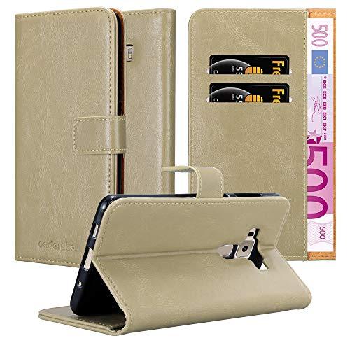 Cadorabo Hülle für Asus ZenFone 3 Deluxe - Hülle in Cappucino BRAUN – Handyhülle im Luxury Design mit Kartenfach und Standfunktion - Case Cover Schutzhülle Etui Tasche Book