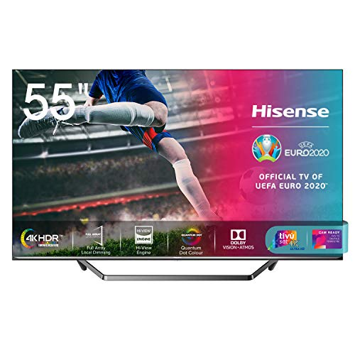 Hisense 55U71QF Smart TV ULED Ultra HD 4K 55', Quantum Dot, Dolby Vision HDR, HDR10+, Dolby Atmos, Full Array Local Dimming, Alexa integrata, Tuner DVB-T2/S2 HEVC Main10 [Esclusiva Amazon - 2020]
