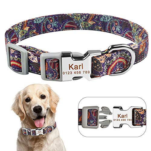 HENANA Hundehalsband Verstellbar Halsband Dog Collar Personalized Personalized Engraved Name Id Tag for Dogs Female Males Sml, China, M 27-39Cm