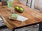 SAM Baumkantentisch Quarto 200x100 cm, Akazienholz massiv + nussbaumfarben, echte Baumkante, Esszimmertisch mit schwarz lackierten Beinen, jeder Esstisch EIN Unikat - 5