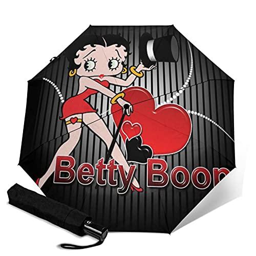 Paraguas plegable portátil Betty Boop para mujeres y hombres reforzado a prueba de viento impermeable y a prueba de rayos UV