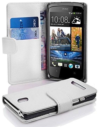 Cadorabo Hülle für HTC Desire 500 in Magnesium WEIß – Handyhülle aus Strukturiertem Kunstleder mit Standfunktion & Kartenfach – Hülle Cover Schutzhülle Etui Tasche Book Klapp Style