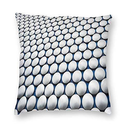 FULIYA Funda de cojín de lino para sofá y coche, con cremallera invisible, 45 x 45 cm, juego de 1, superficie, círculos, textura